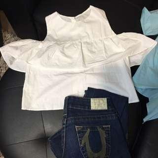 white zara inspired blouse brand new