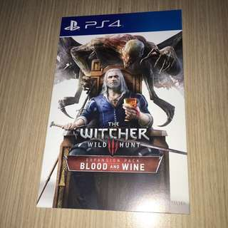 The Witcher 3: Blood and Wine expansion code (PS4, R3)