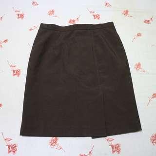 Dark Brown Formal Pencil Skirt