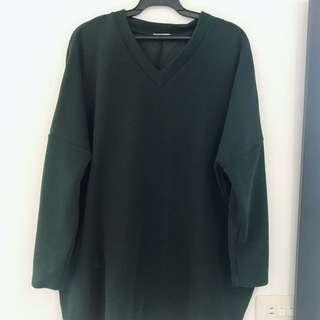 GU長版寬袖上衣(墨綠)