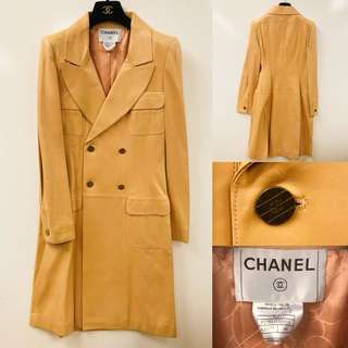Chanel dirty pink lamb leather long jacket overcoat size 40