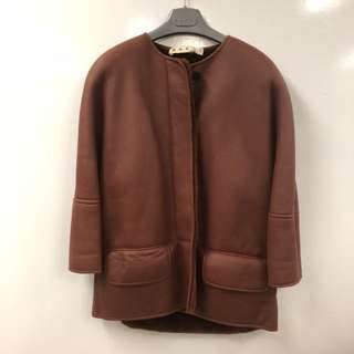 Marni burgandy lamb skin and lamb fur jacket size 42