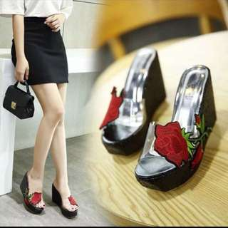 Ready Stock 38 Floral Embroidery Peep Toes Wedges