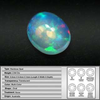 2.94CT Natural Top Multi-Colored Australian Rainbow Opal