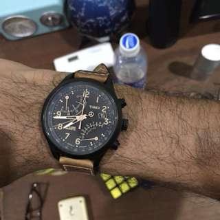 Timex T2N700 intelligent Quartz SL fly back chronograph brown leather