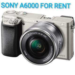 FOR RENT - SONY A6000 MIRRORLESS + SONY 16-50 OSS LENS