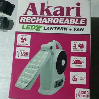 Akari Rechargable LED + Fan + Radio