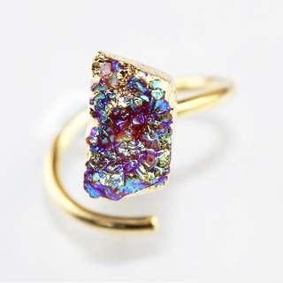 Titanium Geode Druzy Ring