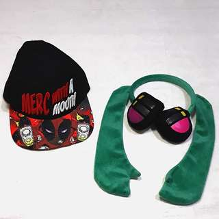 Deadpool bull cap and Hatsune Miku headband