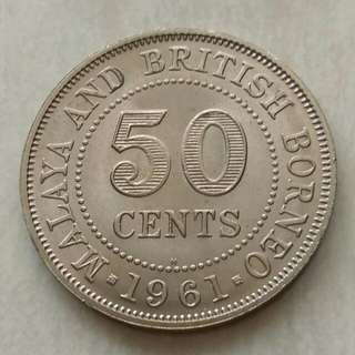 Malaya & British Borneo 1961H 50 Cents Unc Coin With Luster