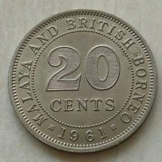 Malaya & British Borneo 1961 20 Cents Unc Coin With Luster