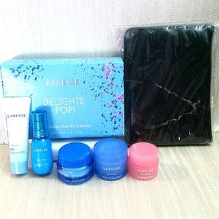 Laneige Trial Kit Delights, Pop! (5 Items) with free Laneige Black Marble Passport Holder