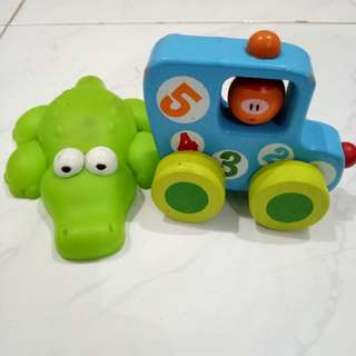 Crodille and Wooden Car