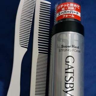 Combs x2 & Gatsby Super Hard Styling Foam x1