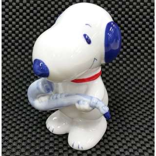Vintage 1990s Jazz Blues Snoopy with Saxophone Blue White Porcelain Coin Bank