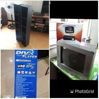 Tv + tvplus/ dvd player/ dvd rack