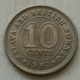 Malaya & British Borneo 1961 10 Cents Unc Coin With Luster