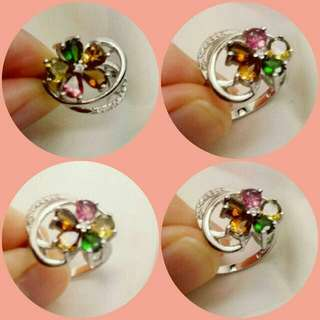 Flower🌹 tourmaline silver 925 ring w/ cz 花花碧茜碧璽銀戒指 2000 ↘ 280