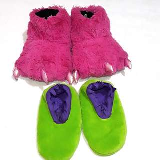 Marvel footsock and Pink monster slippers