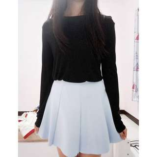 Set Bershka+Rave Habbit Long Sleeve Shirt Tennis Flare Skirt Cute Outfit Size M