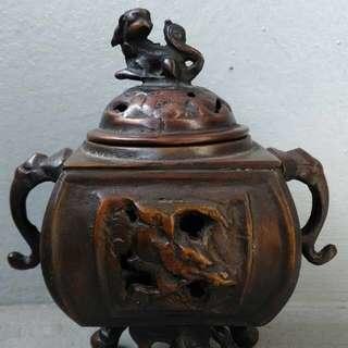 🚚 日本老雙象耳龍紋銅香爐