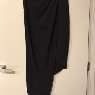 Black ruched midi skirt