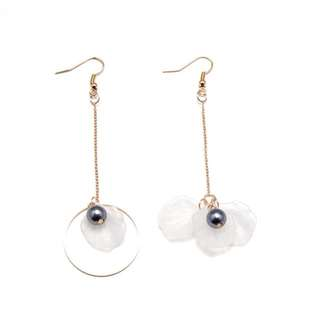 White Flower Petal Long Earrings