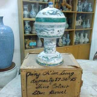 Ceramic Porcelain Stem Bowl Antique Antik