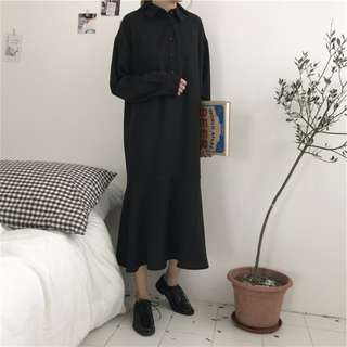 🚚 預購~春季韓版復古翻領寬鬆魚尾襯衫連身裙