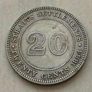 Straits Settlements 1884 20 Cents Silver Coin With Nice Details