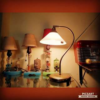 """Vintage Desk Lamp with Gold-tone Curve Stand and White Lampshade. 15"""" tall and lampshade dia 8"""". Working condition, only has discoloration on the stand. Clearance Offer $18! sms 96337309."""