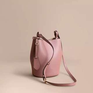 BURBERRY Leather and Haymarket Check Crossbody Bucket Bag