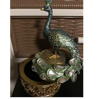 Peacock design holder to store ornaments