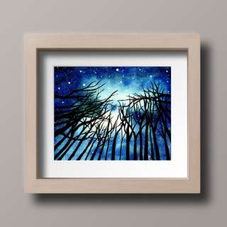 Starry Night Sky Watercolor Painting - Digital Download