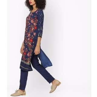 *買買印度*一月連線#039  靜謐深藍 氣質花卉暗紋圖案庫塔 *預購