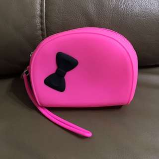(M6) Neon Pink Silicone Purse (with zip)