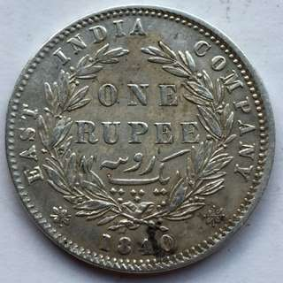 1840年 印度 One Rupee 銀幣