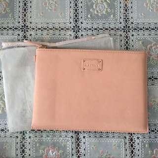 全新Mastina 粉紅色軟皮化妝袋小袋仔(連掛帶一條) Pink Leather Pouch mini bag