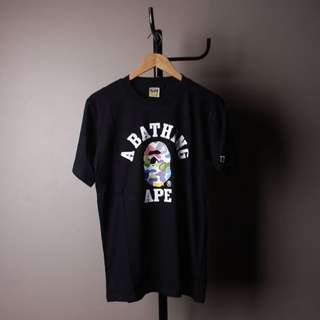 A bathing ape colourfull black t-shirt
