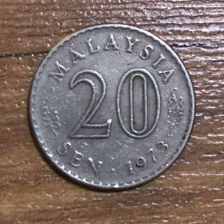1973 Malaysia 20cents coin