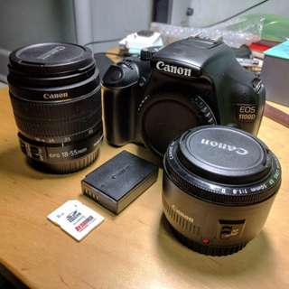 Canon EOS 1100D DSLR w/ 2 Lenses Full Set