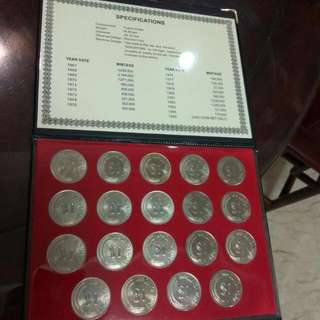 S$1-1st Mint Issue: Lion Coin Set 1967 To 1985 (19 Pcs.).