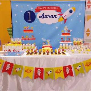 Personalised Birthday Banner, Buntings, Toppers, Decoration Rocket Thene