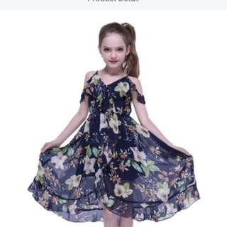 Blue floral chiffon dress
