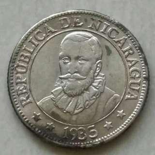 Nicaragua 1935 10 Centavos AU Silver Coin