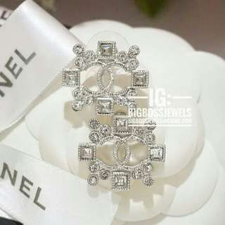 Silver Diamond Like Crystals Earrings Chanel