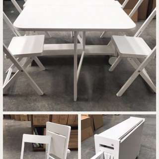 4 Foldable Chairs + Folding Table white Study Desk Kitchen Dining Set Breakfast Table