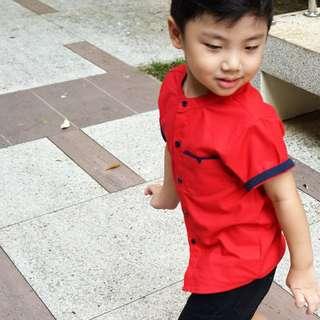 Red CNY Mandarin Collar Shirt (9 - 48M)