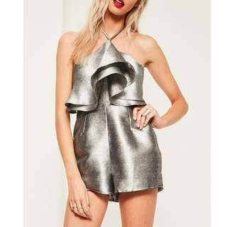 Silver Ruffles Playsuit - size 8 - BRAND NEW WITH TAGS