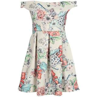 Off the Shoulder Floral Skater Dress - size 8 - BRAND NEW WITH TAGS
